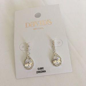 David's Bridal Cubic Zirconia Pear Drop Earrings